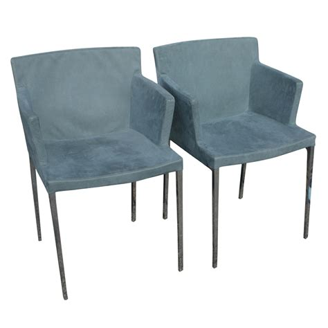 2 ligne roset guest aluminum dining arm chairs 10