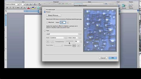 add  background image   word document youtube