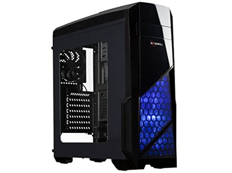 pc side panel fan rosewill atx case mid tower case with blue led fan