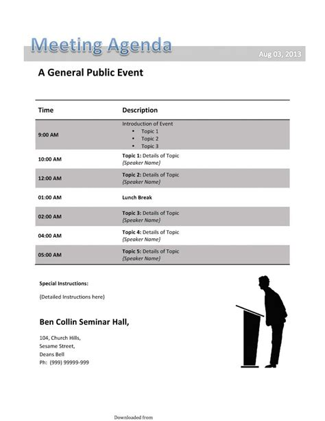 conference call meeting agenda template  format