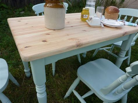 pine farmhouse table and 4 chairs painted vintage antique