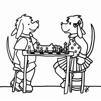 Jogando Xadrez Desenho Colorir Cachorros Coloring Chess