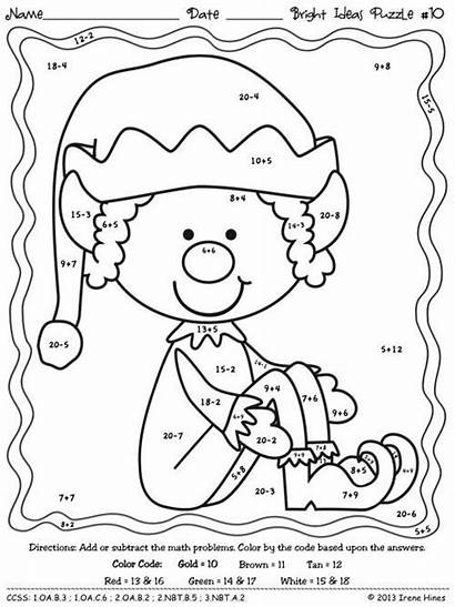 Subtraction Addition Elf Christmas Coloring Worksheets Number