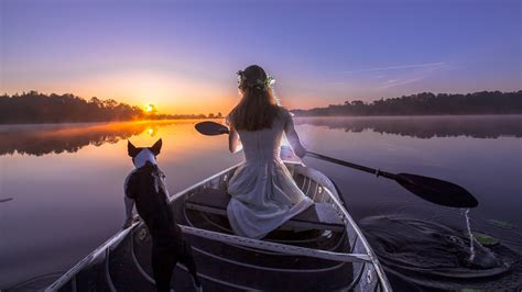 Girls On Boats by Girl In Boat With Dog Wallpapers And Images Wallpapers