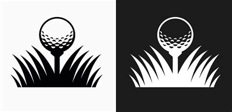 golf ball icon  black  white vector backgrounds stock