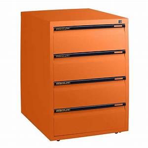 Statewide, Office, Steel, Mobile, Pedestal, 4, Drawer, Storage, Cabinet, Underdesk, Drawers, Orange