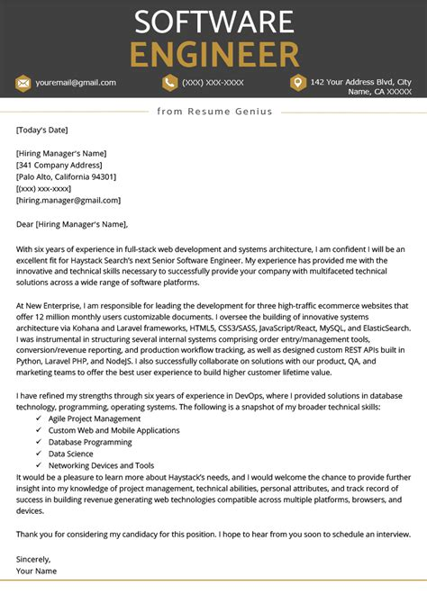 Software To Make Resume by Software Engineer Cover Letter Exle Writing Tips