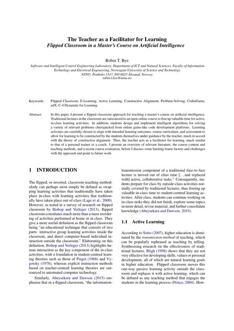 (PDF) The Teacher as a Facilitator for Learning - Flipped