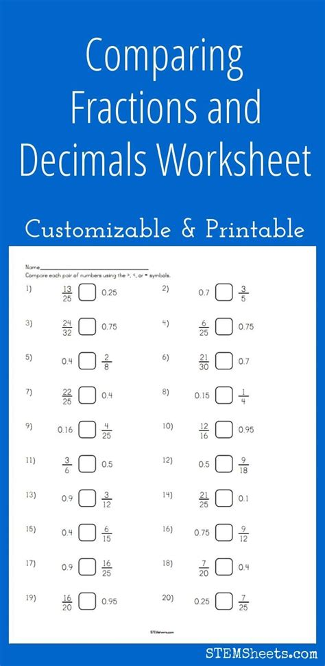 comparing fractions  decimals worksheet customizable