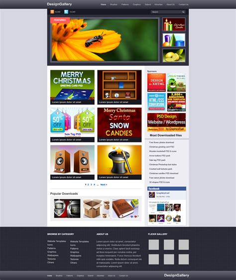 template gallery website gallery psd template graphicsfuel