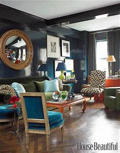 lacquered navy walls miles redd interior design With house beautiful living room colors