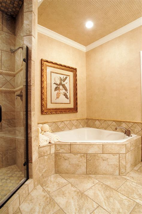Shower Tub Ideas by Corner Soaking Tub With Tile Surround Master Bathroom