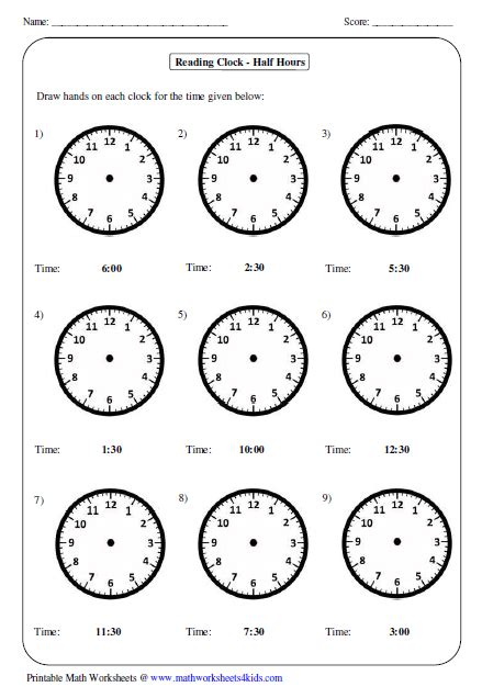 drawing hands  clocks time worksheets telling time
