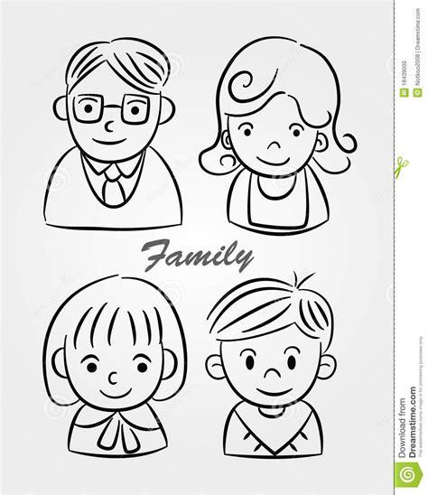 hand draw cartoon family icon stock vector illustration