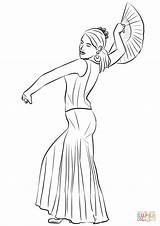 Coloring Spanish Flamenco Dancing Printable Drawing Getdrawings Paper sketch template