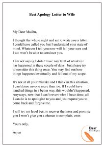 apology letter template  wife sample