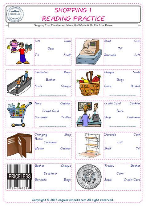 shopping english worksheet  kids esl printable picture