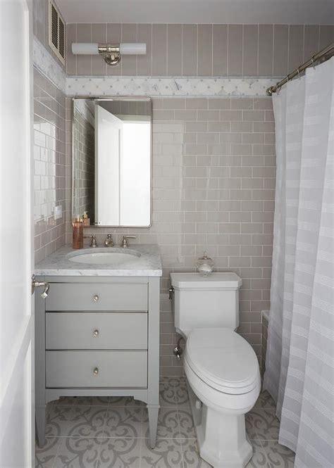 White Bath Vanity with Blue Subway Tile Backsplash