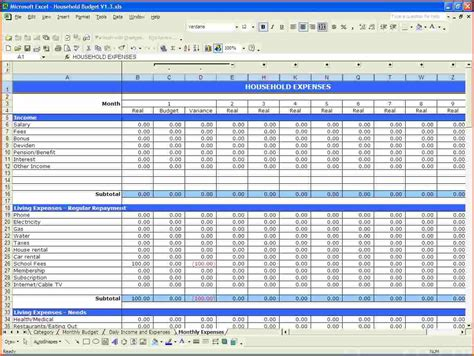 free monthly budget spreadsheet template budget