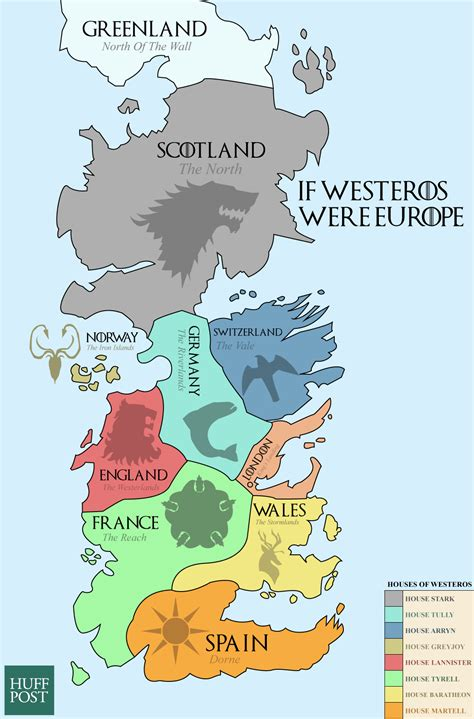 This Map Of Westeros Shows The European Equivalents Of The