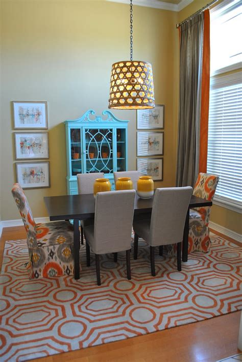 The Francis Family: Orange, Blue and Grey Dining Room Makeover