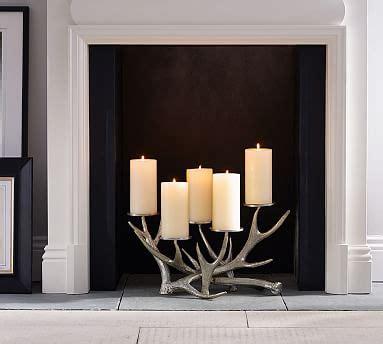 candle holder for inside fireplace antler fireplace candelabra pottery barn