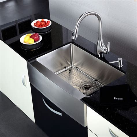 kitchen sink and faucet combinations kraus khf200 30 kpf2170 sd20 30 inch farmhouse sink and