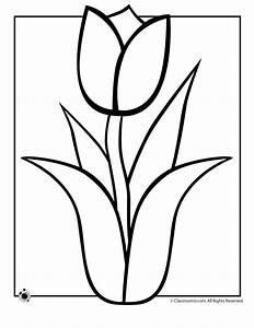 Simple Black And White Outline Of A Tulip - ClipArt Best