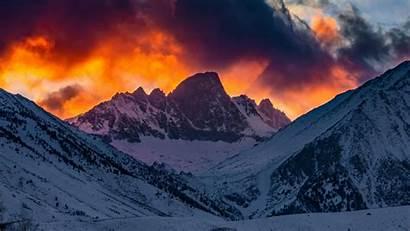 Sunset Snow Mountains Glow Sky Clouds 4k