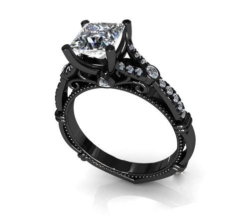 womens black wedding rings princess cut black rings for princess cut black gold engagement rings for