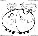 Drunk Fly Cartoon Clipart Outlined Chubby Coloring Vector Thoman Cory sketch template