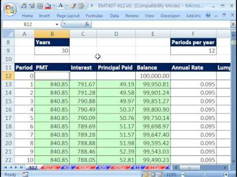 excel magic trick  amortization table  variable rate