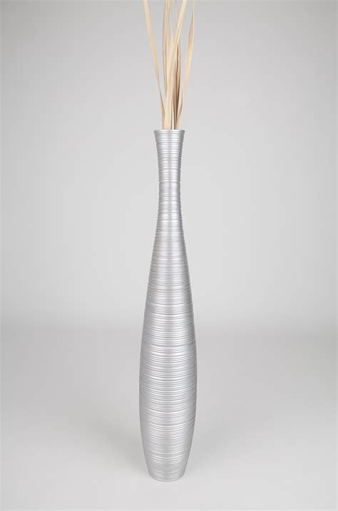 Silver Tall Floor Vase 36 Inches, Wood, Silver   Leewadee