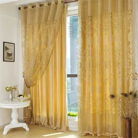 luxury polyester fabric gold curtains in living room