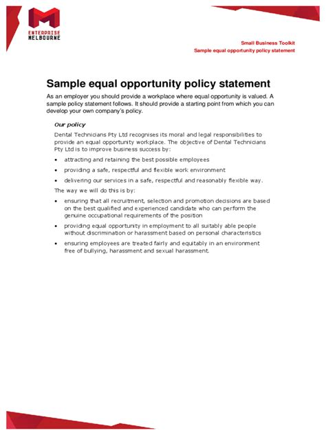 equal opportunities policy template   templates