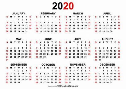 Calendar Yearly Vector Printable Week 123freevectors Numbers