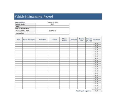 40 printable vehicle maintenance log templates ᐅ template lab