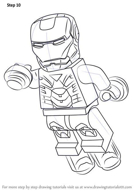 step  step   draw lego iron man