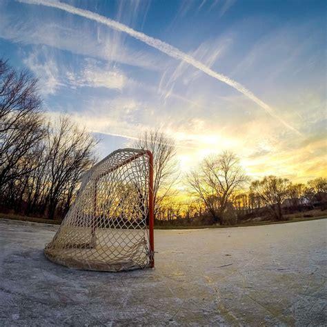sunset pond hockey evening gopro