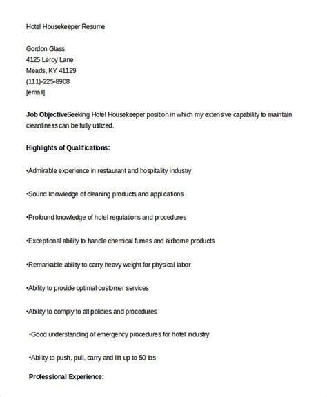 Exles Of Housekeeping Resumes by Housekeeping Manager Resume
