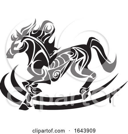 black  white horse tattoo design  morphart creations
