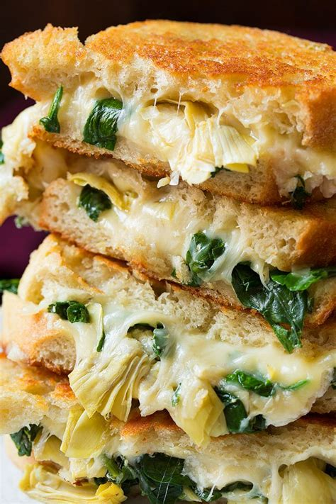 spinach artichoke grilled cheese sandwich cooking classy