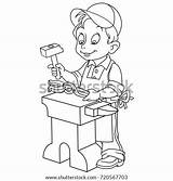 Coloring Blacksmith Worker Clipart Pages Colouring Vector Handyman Shutterstock Template Escalator Children Sketch sketch template