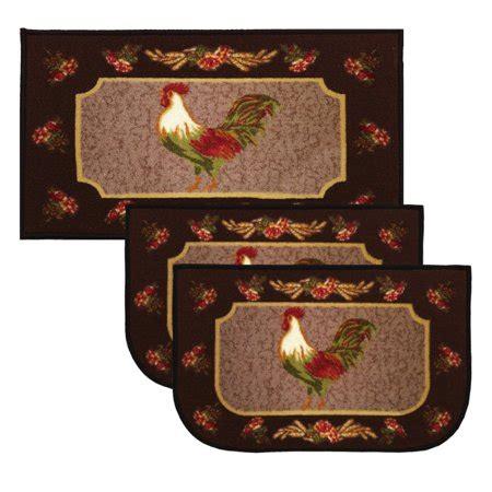 kashi home rooster brown pc kitchen rug set  slice