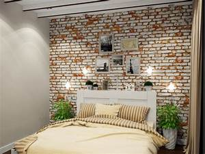 papier peint imitation brique dans la chambre a coucher With tapis champ de fleurs avec canapé cuir marron vieilli