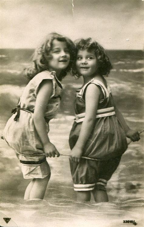 antique beach postcard   girls funny swimming