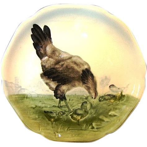 adorable majolica faience cabinet plate with hen