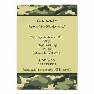 camo army green birthday party invitation zazzle With camouflage party invitation template