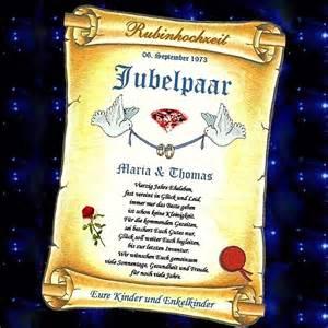 einladung 40 hochzeitstag rubinhochzeit rubin hochzeit 40 hochzeitstag geschenk urkunde auch mit foto und ebay