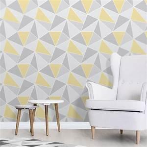 Fine Decor Apex Geo Yellow/Grey Wallpaper
